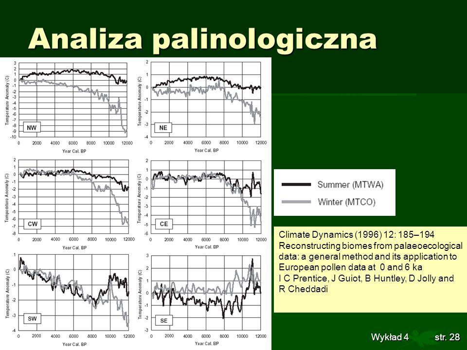 Globalne Zmiany Środowiska Wykład 4str. 28 Analiza palinologiczna Climate Dynamics (1996) 12: 185–194 Reconstructing biomes from palaeoecological data