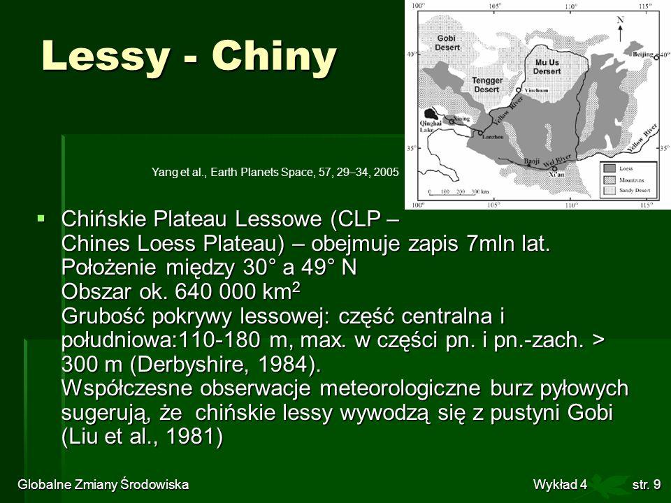 Globalne Zmiany Środowiska Wykład 4str. 9 Chińskie Plateau Lessowe (CLP – Chines Loess Plateau) – obejmuje zapis 7mln lat. Położenie między 30° a 49°