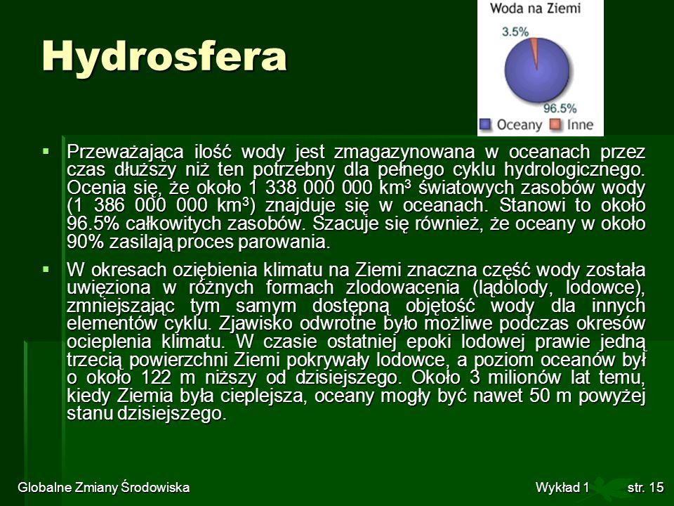 Globalne Zmiany Środowiska Wykład 1str. 15 Hydrosfera Przeważająca ilość wody jest zmagazynowana w oceanach przez czas dłuższy niż ten potrzebny dla p