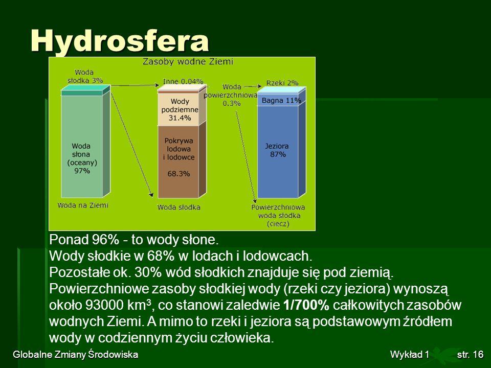 Globalne Zmiany Środowiska Wykład 1str. 16 Hydrosfera Ponad 96% - to wody słone. Wody słodkie w 68% w lodach i lodowcach. Pozostałe ok. 30% wód słodki