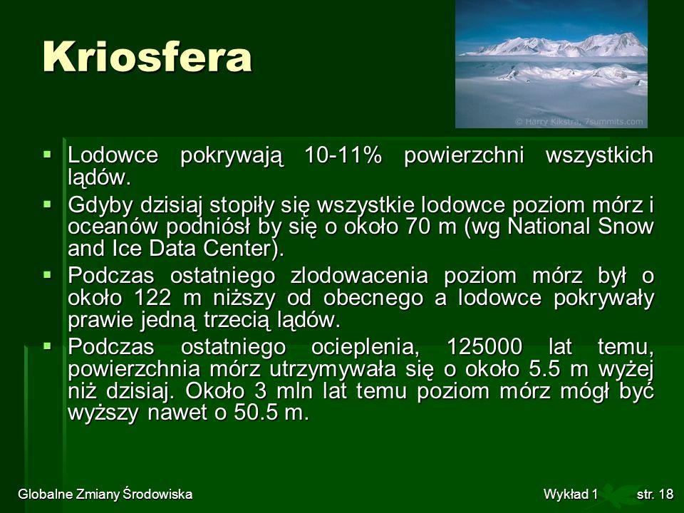 Globalne Zmiany Środowiska Wykład 1str. 18 Kriosfera Lodowce pokrywają 10-11% powierzchni wszystkich lądów. Lodowce pokrywają 10-11% powierzchni wszys