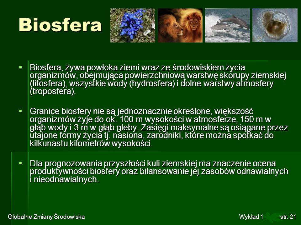 Globalne Zmiany Środowiska Wykład 1str. 21 Biosfera Biosfera, żywa powłoka ziemi wraz ze środowiskiem życia organizmów, obejmująca powierzchniową wars