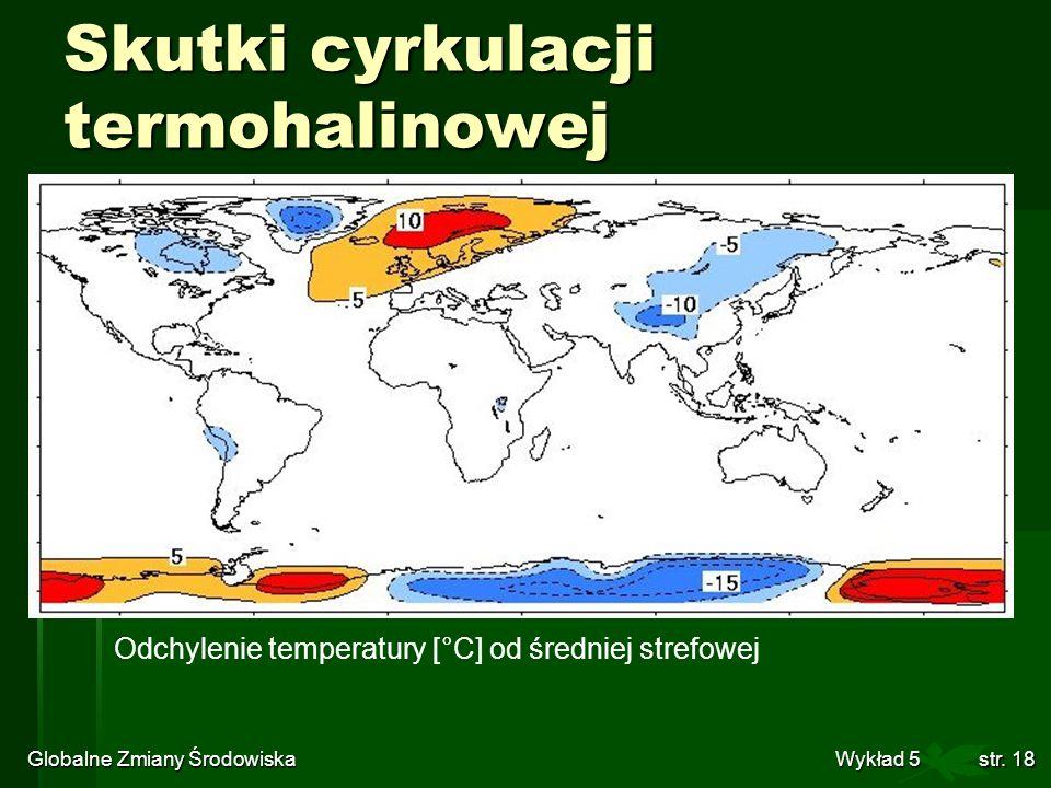 Globalne Zmiany Środowiska Wykład 5str. 18 Skutki cyrkulacji termohalinowej Odchylenie temperatury [°C] od średniej strefowej