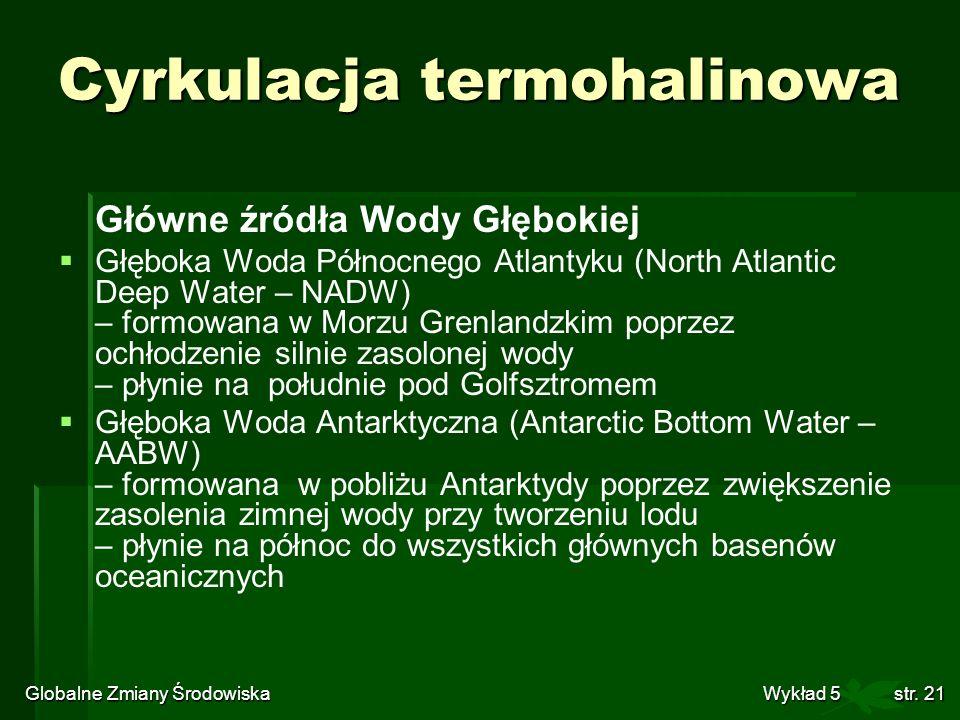 Globalne Zmiany Środowiska Wykład 5str. 21 Cyrkulacja termohalinowa Główne źródła Wody Głębokiej Głęboka Woda Północnego Atlantyku (North Atlantic Dee