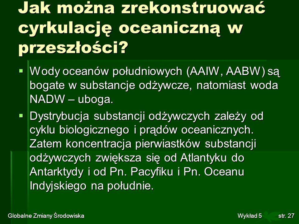 Globalne Zmiany Środowiska Wykład 5str. 27 Jak można zrekonstruować cyrkulację oceaniczną w przeszłości? Wody oceanów południowych (AAIW, AABW) są bog