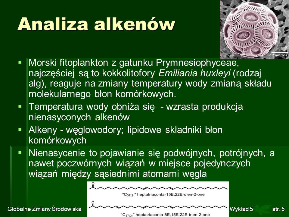 Globalne Zmiany Środowiska Wykład 5str. 5 Analiza alkenów Morski fitoplankton z gatunku Prymnesiophyceae, najczęściej są to kokkolitofory Emiliania hu
