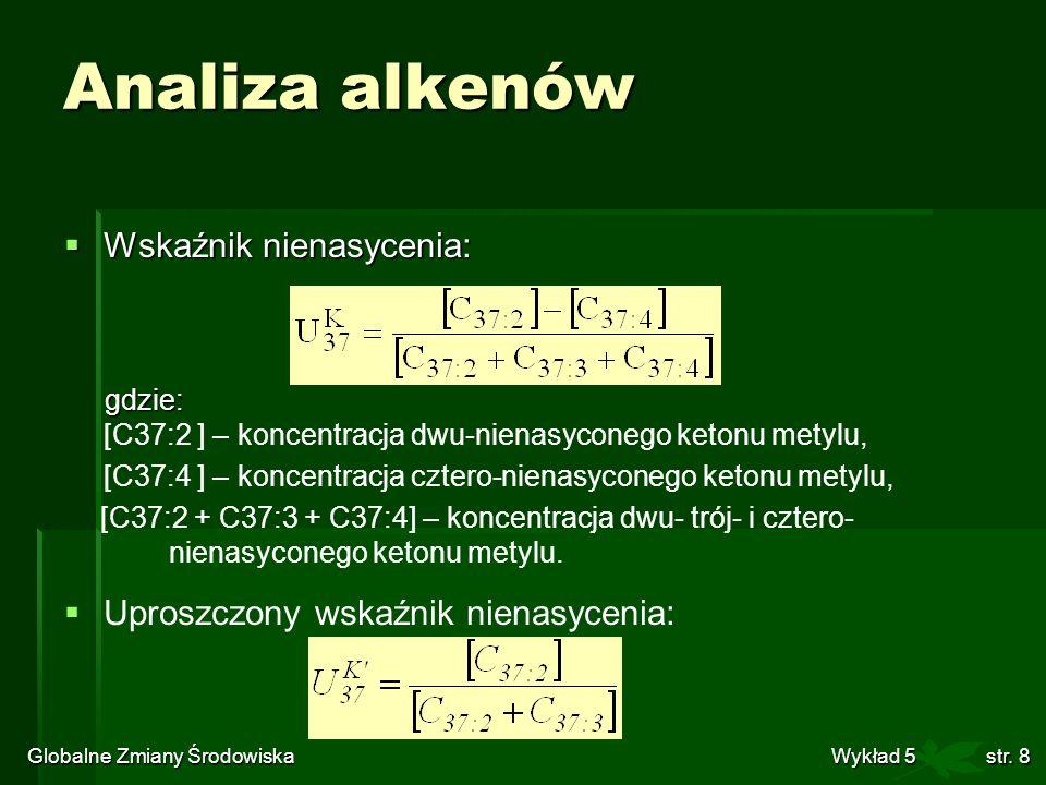 Globalne Zmiany Środowiska Wykład 5str. 8 Analiza alkenów Wskaźnik nienasycenia: Wskaźnik nienasycenia: gdzie: gdzie: [C37:2 ] – koncentracja dwu-nien