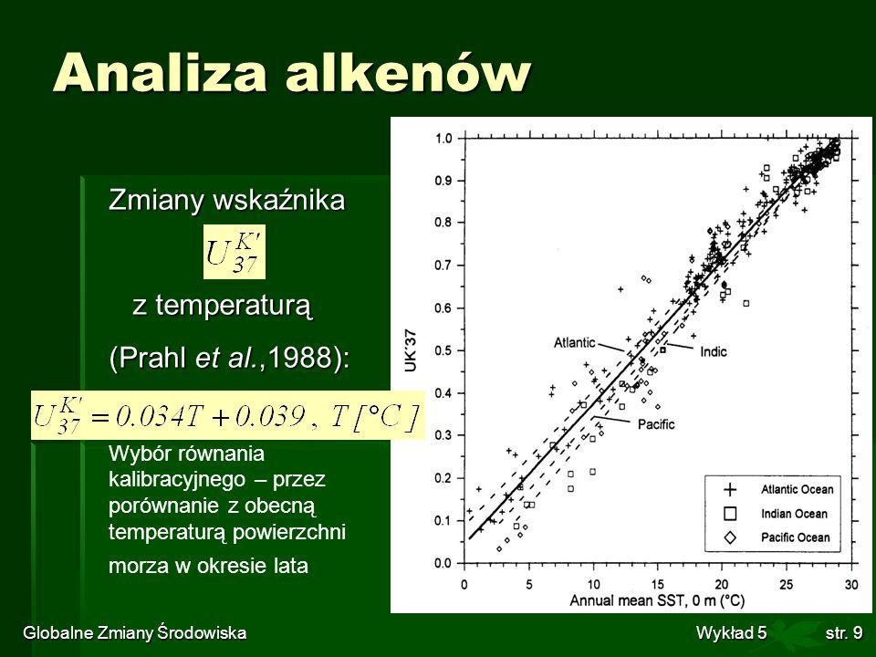 Globalne Zmiany Środowiska Wykład 5str. 9 Analiza alkenów Zmiany wskaźnika z temperaturą z temperaturą (Prahl et al.,1988): Wybór równania kalibracyjn