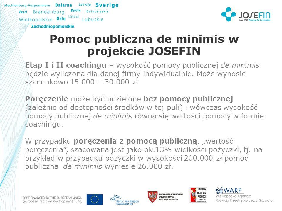 Your Logo Pomoc publiczna de minimis w projekcie JOSEFIN Etap I i II coachingu – wysokość pomocy publicznej de minimis będzie wyliczona dla danej firmy indywidualnie.