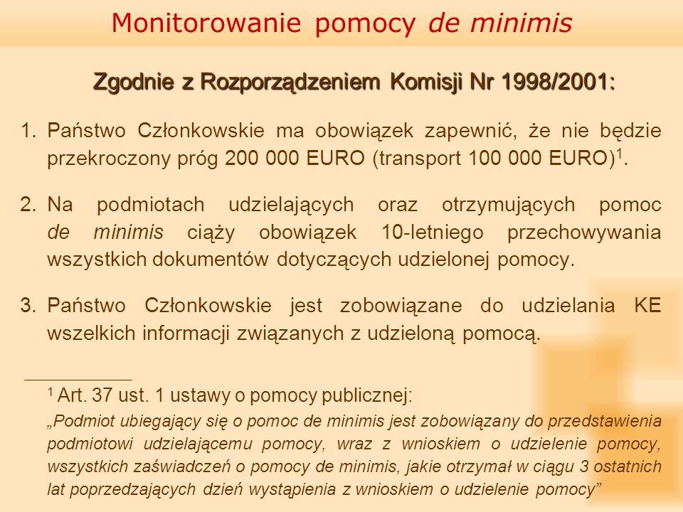 Zgodnie z Rozporządzeniem Komisji Nr 1998/2001: Zgodnie z Rozporządzeniem Komisji Nr 1998/2001: 1.Państwo Członkowskie ma obowiązek zapewnić, że nie b
