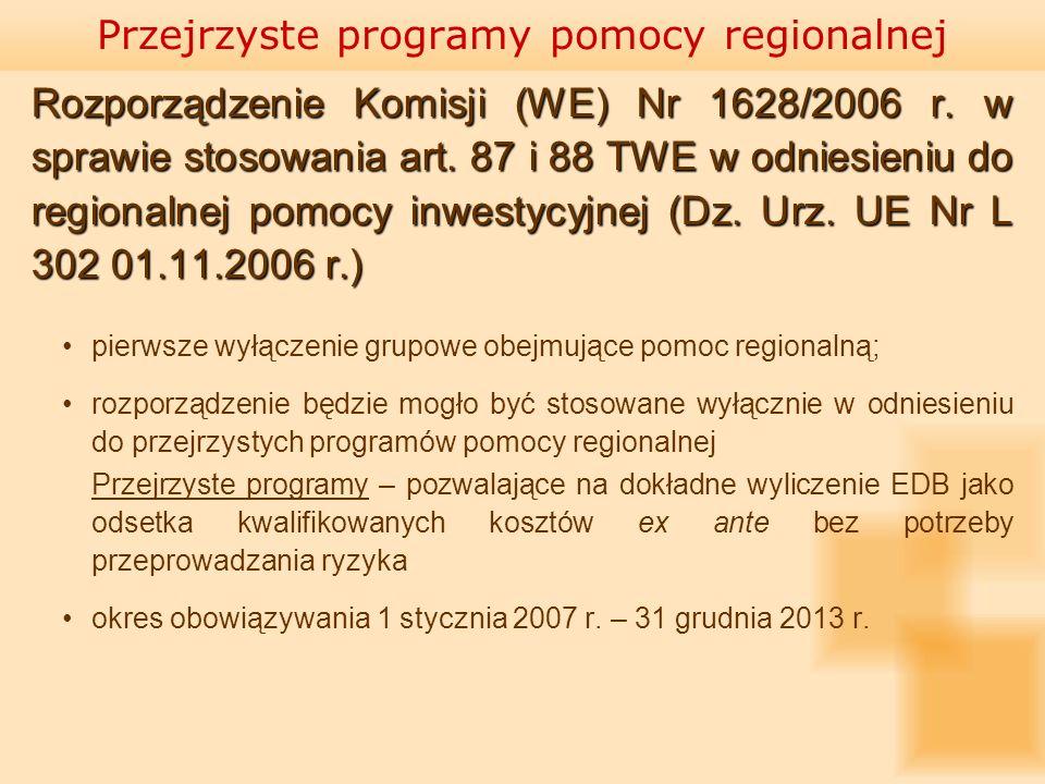 Rozporządzenie Komisji (WE) Nr 1628/2006 r. w sprawie stosowania art. 87 i 88 TWE w odniesieniu do regionalnej pomocy inwestycyjnej (Dz. Urz. UE Nr L