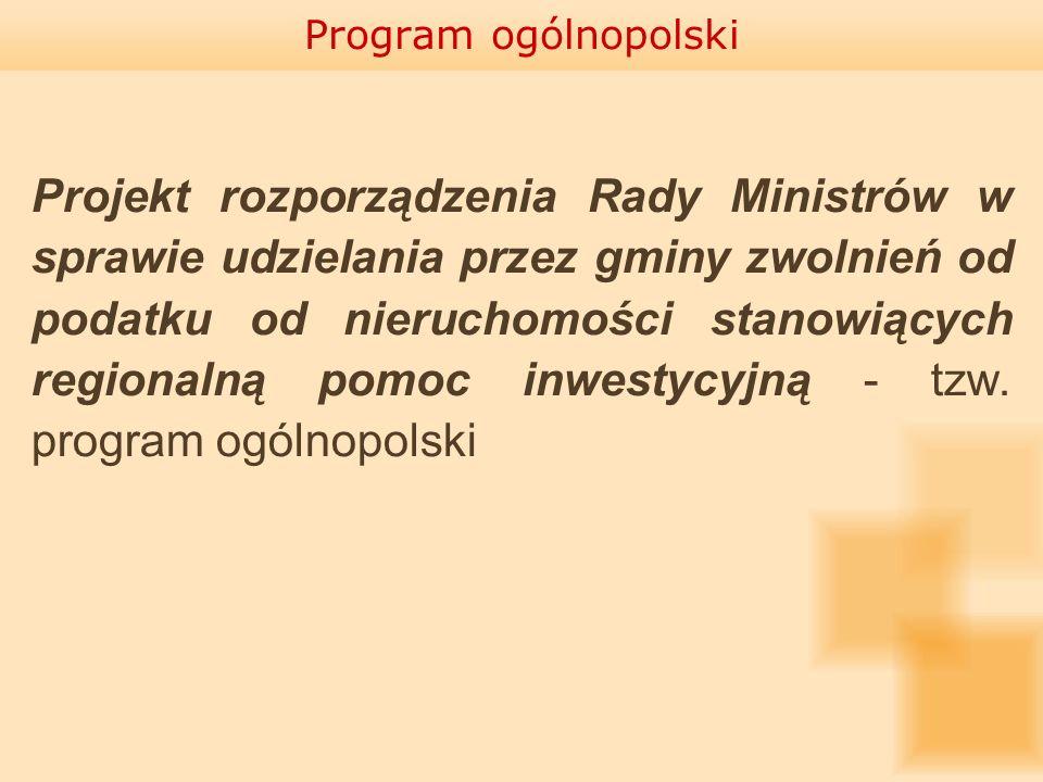 Projekt rozporządzenia Rady Ministrów w sprawie udzielania przez gminy zwolnień od podatku od nieruchomości stanowiących regionalną pomoc inwestycyjną