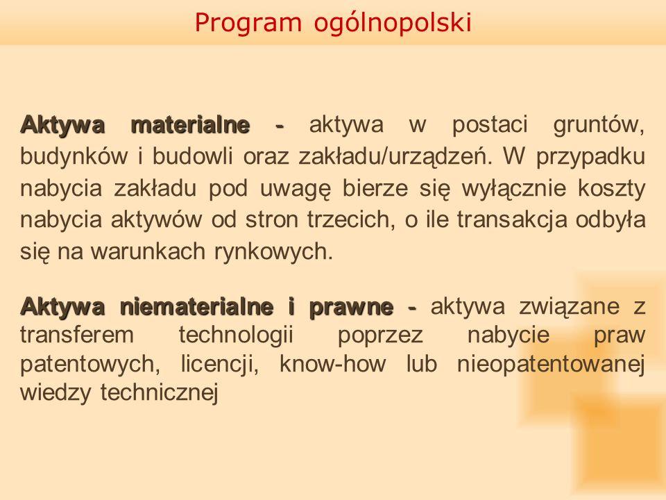Program ogólnopolski Aktywa materialne - Aktywa materialne - aktywa w postaci gruntów, budynków i budowli oraz zakładu/urządzeń. W przypadku nabycia z