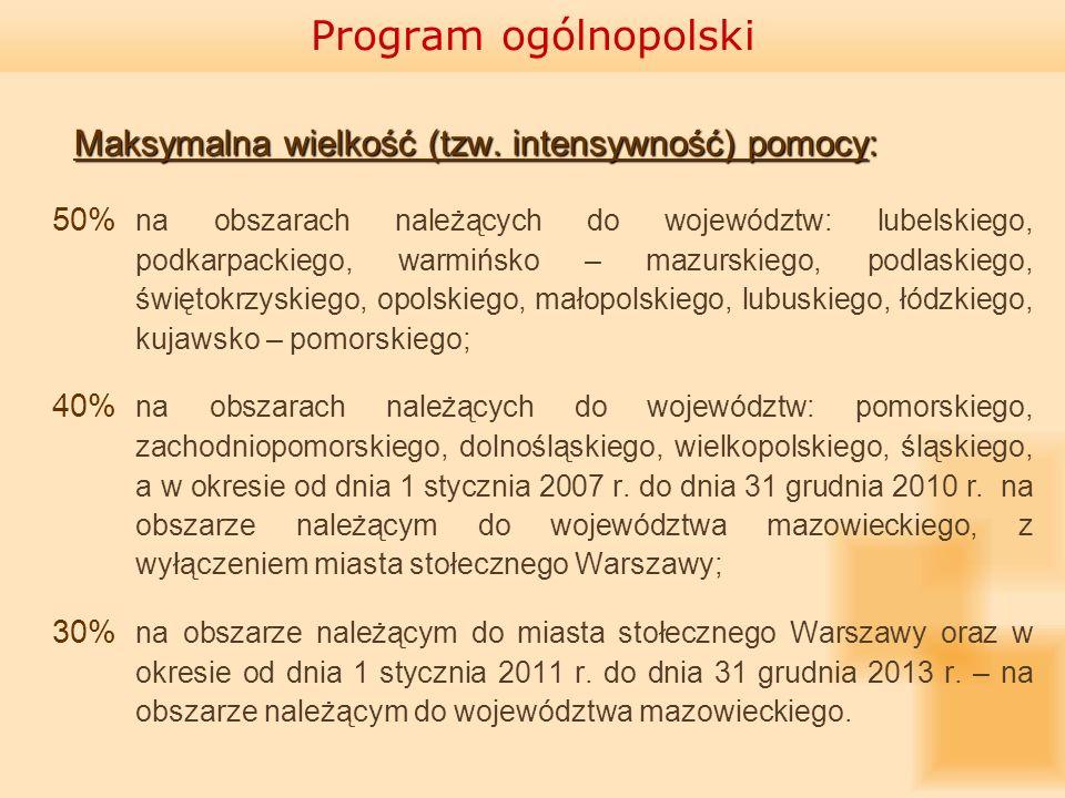 Maksymalna wielkość (tzw. intensywność) pomocy: 50% na obszarach należących do województw: lubelskiego, podkarpackiego, warmińsko – mazurskiego, podla