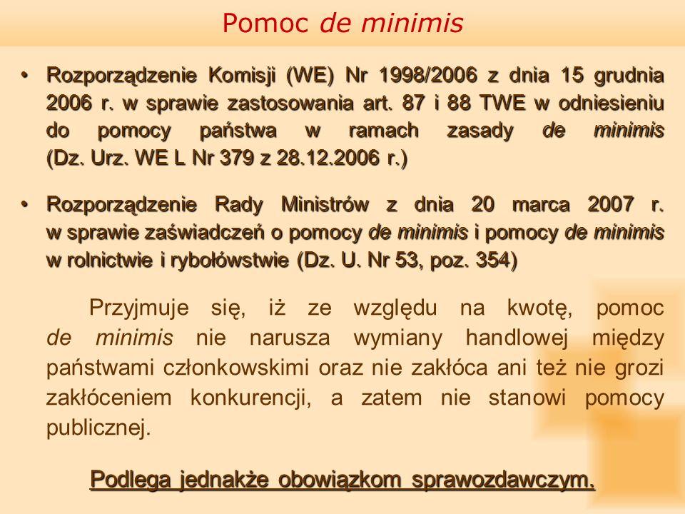 Pomoc de minimis Rozporządzenie Komisji (WE) Nr 1998/2006 z dnia 15 grudnia 2006 r. w sprawie zastosowania art. 87 i 88 TWE w odniesieniu do pomocy pa