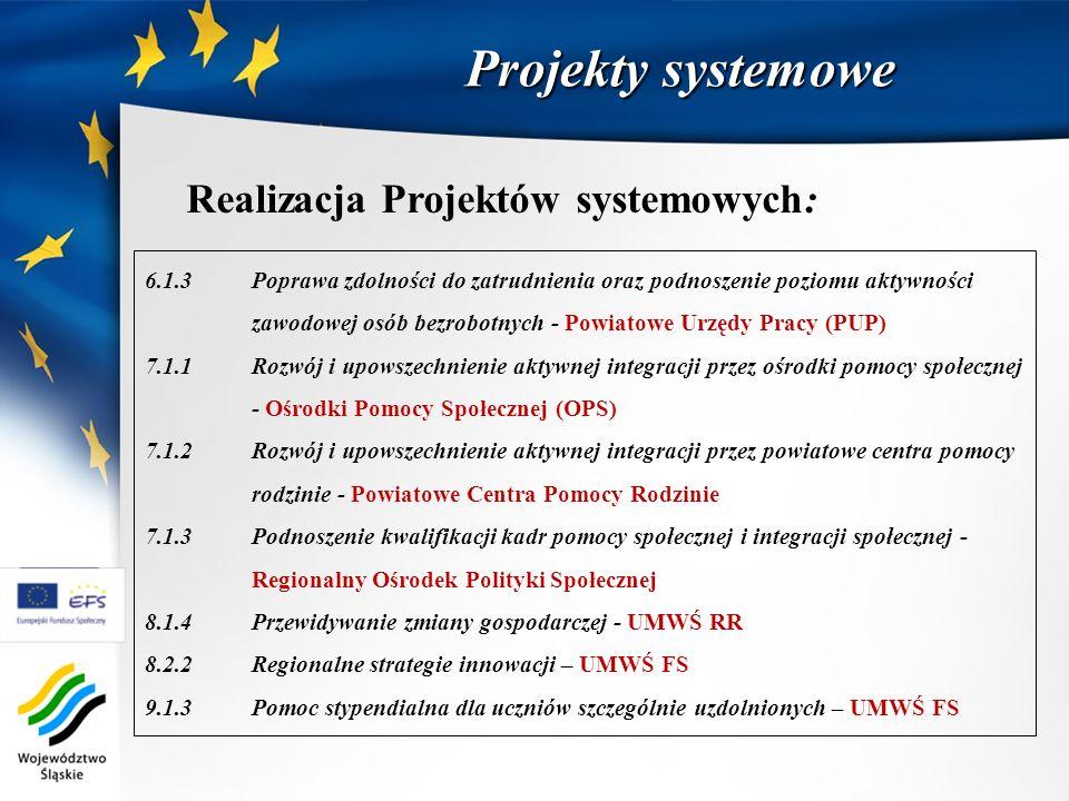 Projekty systemowe Realizacja Projektów systemowych: 6.1.3 Poprawa zdolności do zatrudnienia oraz podnoszenie poziomu aktywności zawodowej osób bezrob