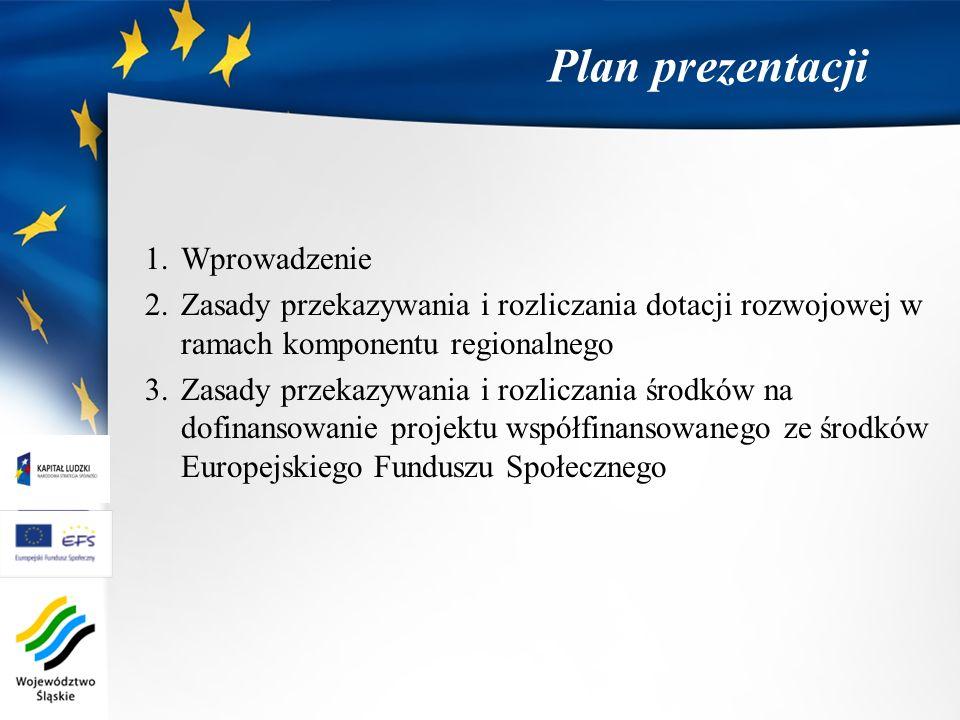 Plan prezentacji 1.Wprowadzenie 2.Zasady przekazywania i rozliczania dotacji rozwojowej w ramach komponentu regionalnego 3.Zasady przekazywania i rozl