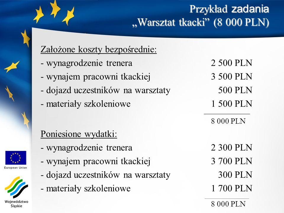 Przykład zadania Warsztat tkacki (8 000 PLN) Założone koszty bezpośrednie: - wynagrodzenie trenera2 500 PLN - wynajem pracowni tkackiej3 500 PLN - doj