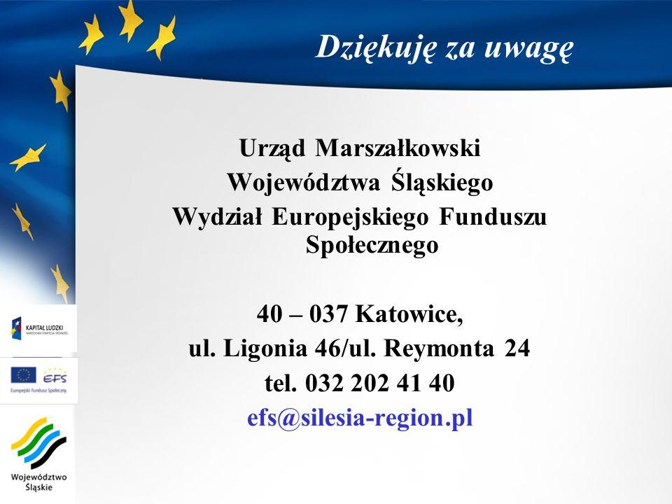 Dziękuję za uwagę Urząd Marszałkowski Województwa Śląskiego Wydział Europejskiego Funduszu Społecznego 40 – 037 Katowice, ul. Ligonia 46/ul. Reymonta