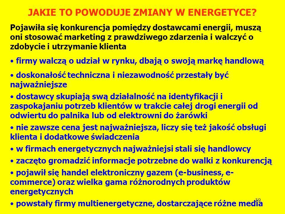 38 NA CZYM POLEGA LIBERALIZACJA ENERGETYKI? Unia Europejska ją wprowadza!!! oddzielenie operacji zakupu energii jako towaru od usługi jej przesyłu (ge
