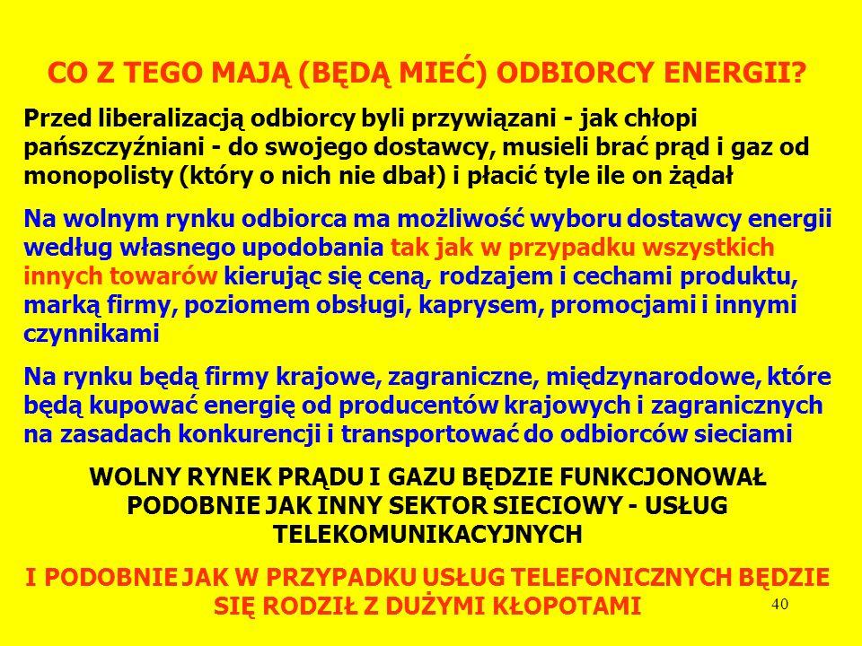 39 JAKIE TO POWODUJE ZMIANY W ENERGETYCE? Pojawiła się konkurencja pomiędzy dostawcami energii, muszą oni stosować marketing z prawdziwego zdarzenia i