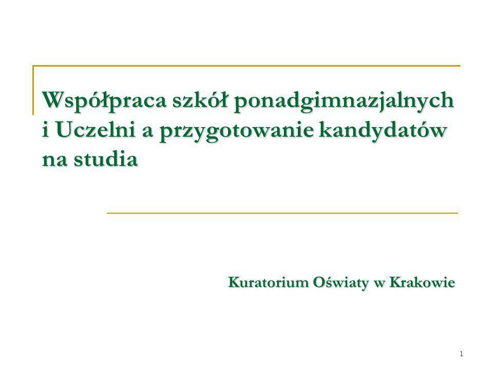 1 Współpraca szkół ponadgimnazjalnych i Uczelni a przygotowanie kandydatów na studia Kuratorium Oświaty w Krakowie