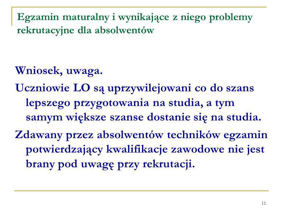 11 Egzamin maturalny i wynikające z niego problemy rekrutacyjne dla absolwentów Wniosek, uwaga.