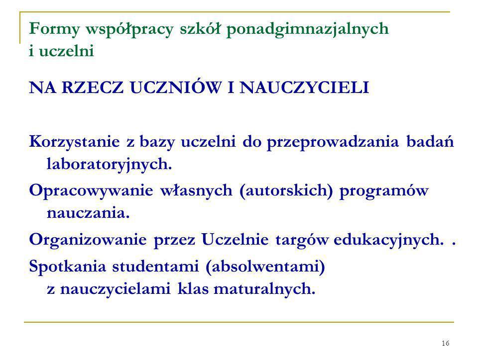 16 Formy współpracy szkół ponadgimnazjalnych i uczelni NA RZECZ UCZNIÓW I NAUCZYCIELI Korzystanie z bazy uczelni do przeprowadzania badań laboratoryjnych.