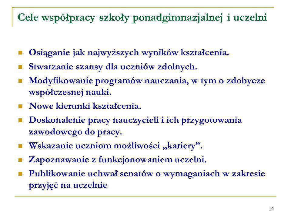19 Cele współpracy szkoły ponadgimnazjalnej i uczelni Osiąganie jak najwyższych wyników kształcenia.