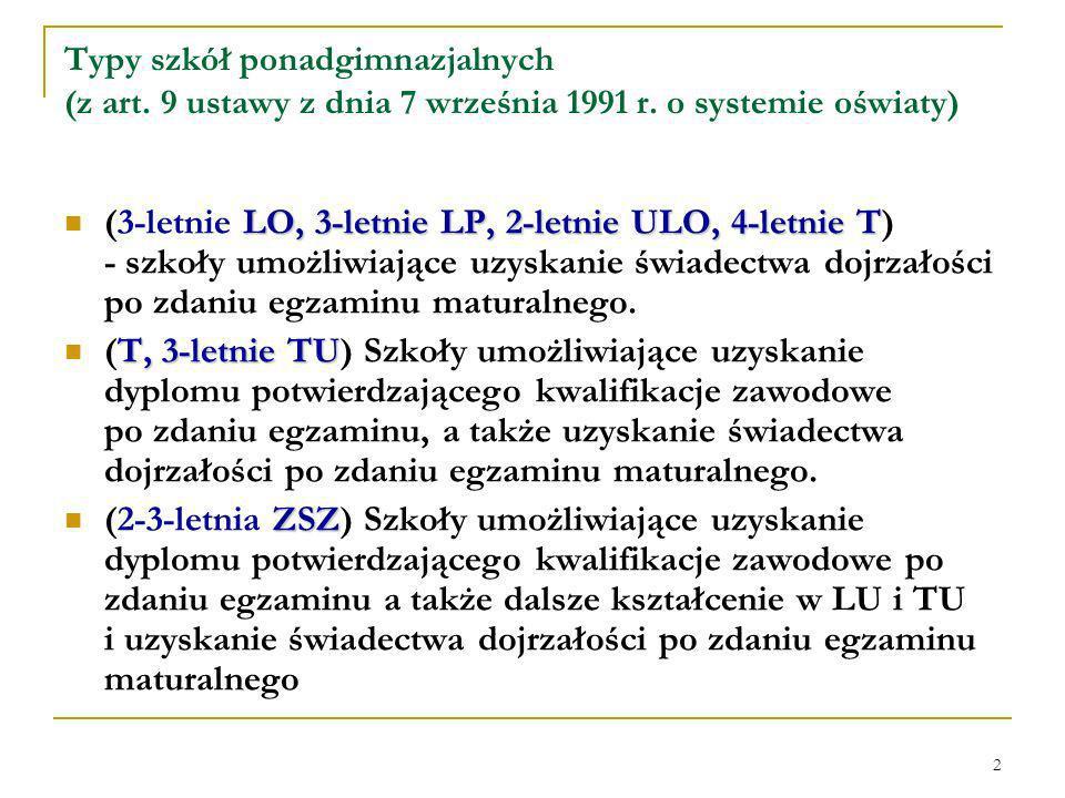 2 Typy szkół ponadgimnazjalnych (z art. 9 ustawy z dnia 7 września 1991 r.