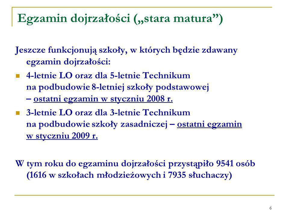 6 Egzamin dojrzałości (stara matura) Jeszcze funkcjonują szkoły, w których będzie zdawany egzamin dojrzałości: 4-letnie LO oraz dla 5-letnie Technikum na podbudowie 8-letniej szkoły podstawowej – ostatni egzamin w styczniu 2008 r.