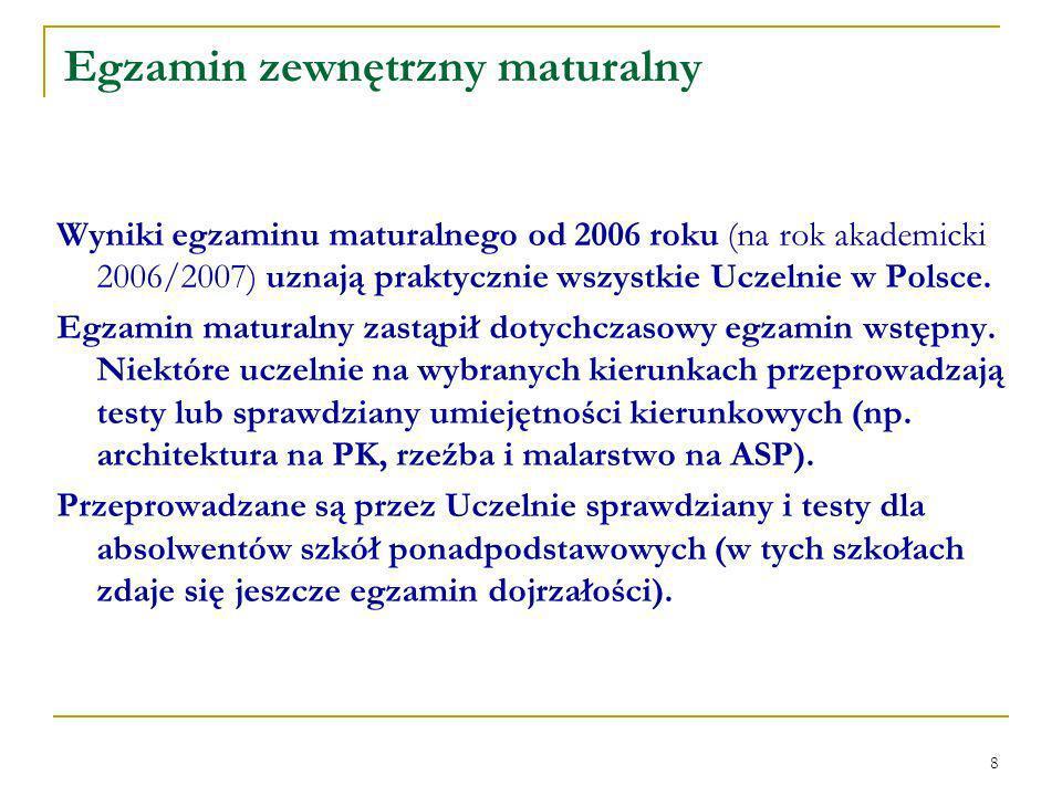 8 Wyniki egzaminu maturalnego od 2006 roku (na rok akademicki 2006/2007) uznają praktycznie wszystkie Uczelnie w Polsce.