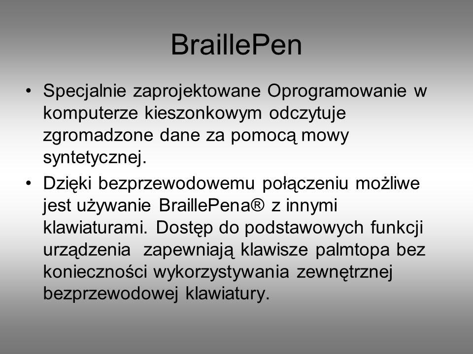 terminal brajlowski BraillePen 12,z 12 znakowym wyświetlaczem zasilacz przewód zasilający smartphone (Nokia E52 z oprogramowaniem talks) lub iPhone etui smycz instrukcje Zestaw zawiera:
