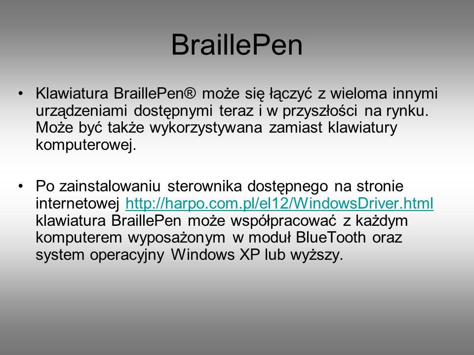 Zawartość zestawu: klawiatura brajlowska zasilacz przewód zasilający komputer przenośny PDA oprogramowanie BraillePen słuchawki smycz instrukcja obsługi