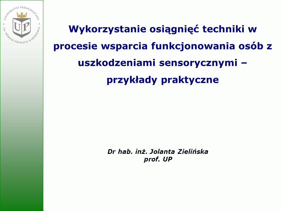 Jolanta Zielińska Wykorzystanie osiągnięć techniki w procesie wsparcia funkcjonowania osób z uszkodzeniami sensorycznymi – przykłady praktyczne Dr hab