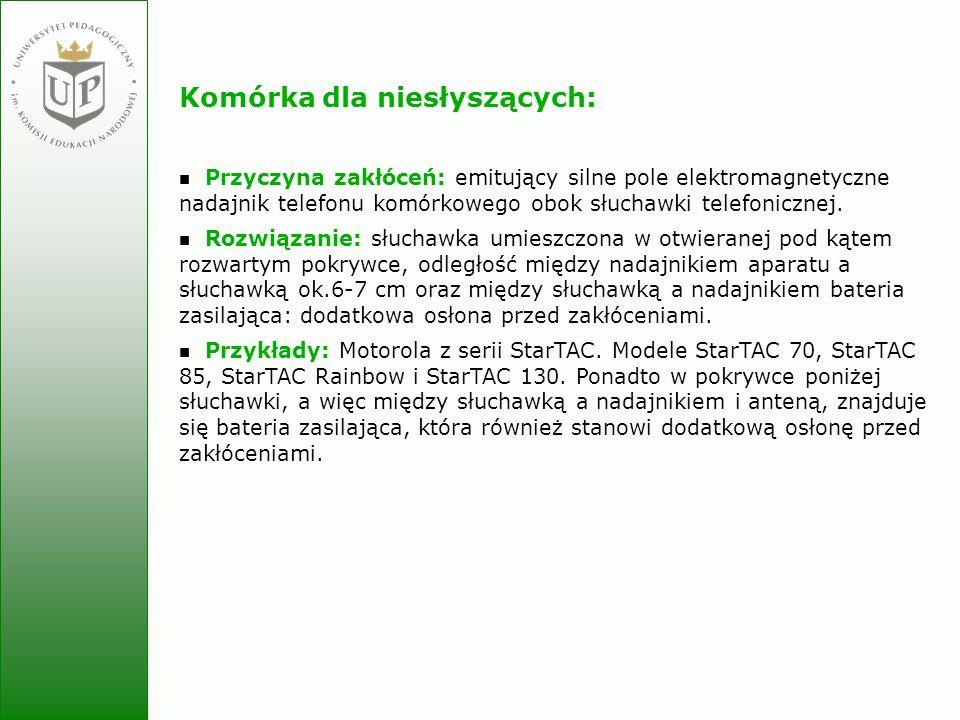 Jolanta Zielińska Komórka dla niesłyszących: Przyczyna zakłóceń: emitujący silne pole elektromagnetyczne nadajnik telefonu komórkowego obok słuchawki