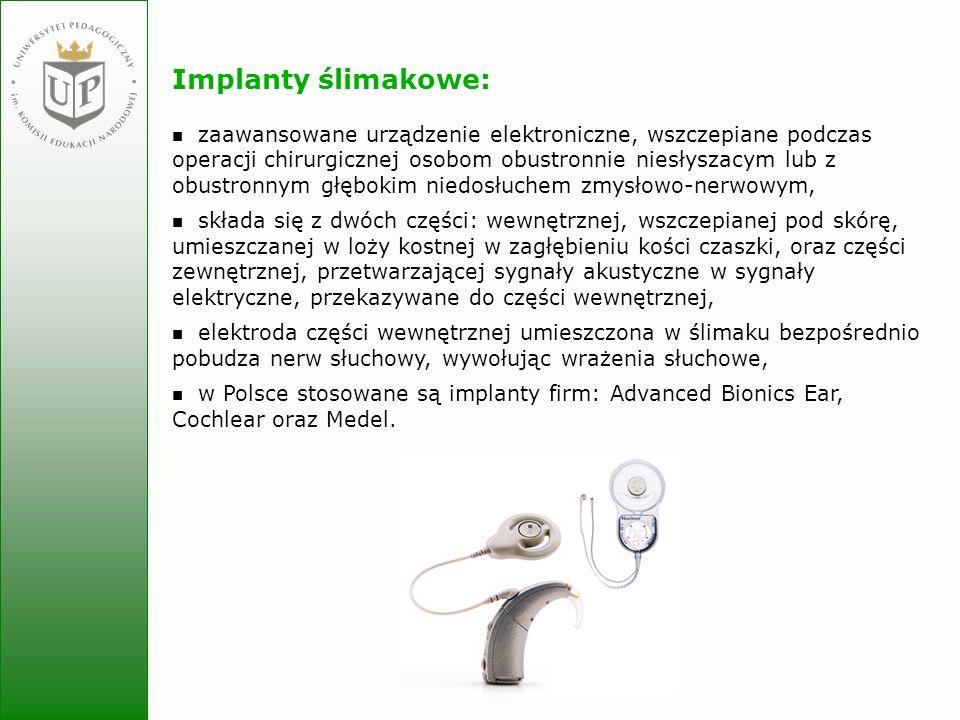 Jolanta Zielińska Implanty ślimakowe: zaawansowane urządzenie elektroniczne, wszczepiane podczas operacji chirurgicznej osobom obustronnie niesłyszacy