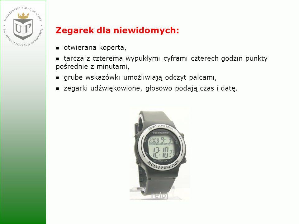 Jolanta Zielińska Zegarek dla niewidomych: otwierana koperta, tarcza z czterema wypukłymi cyframi czterech godzin punkty pośrednie z minutami, grube w