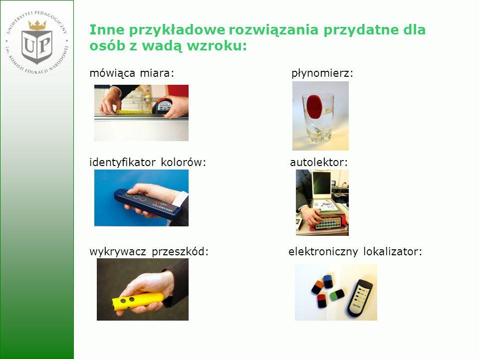 Jolanta Zielińska Inne przykładowe rozwiązania przydatne dla osób z wadą wzroku: mówiąca miara: płynomierz: identyfikator kolorów: autolektor: wykrywa