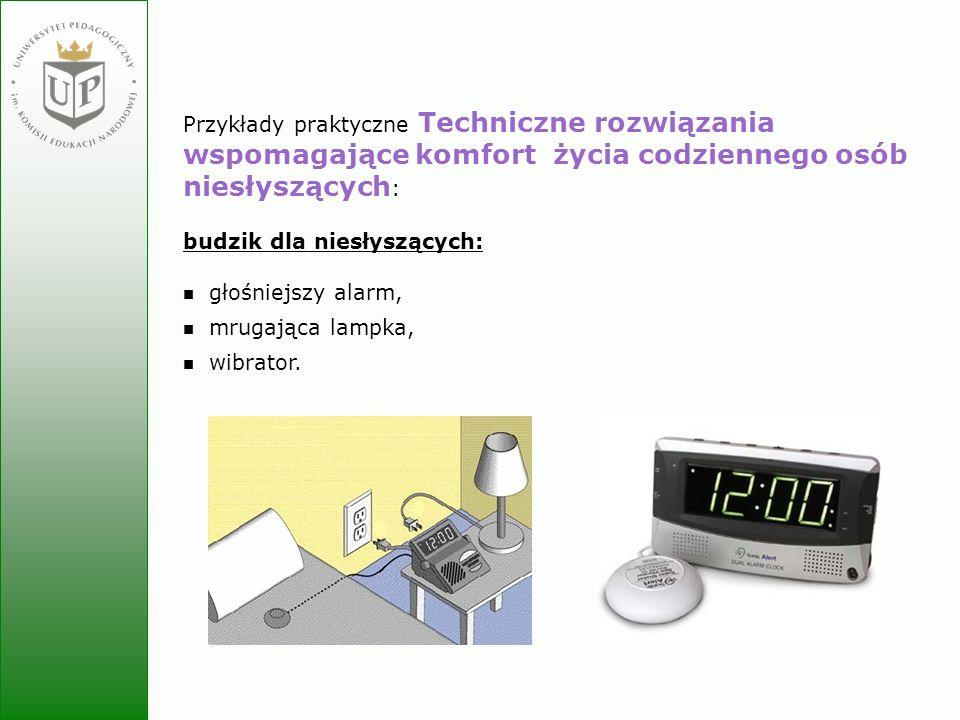 Jolanta Zielińska Przykłady praktyczne Techniczne rozwiązania wspomagające komfort życia codziennego osób niesłyszących : budzik dla niesłyszących: gł