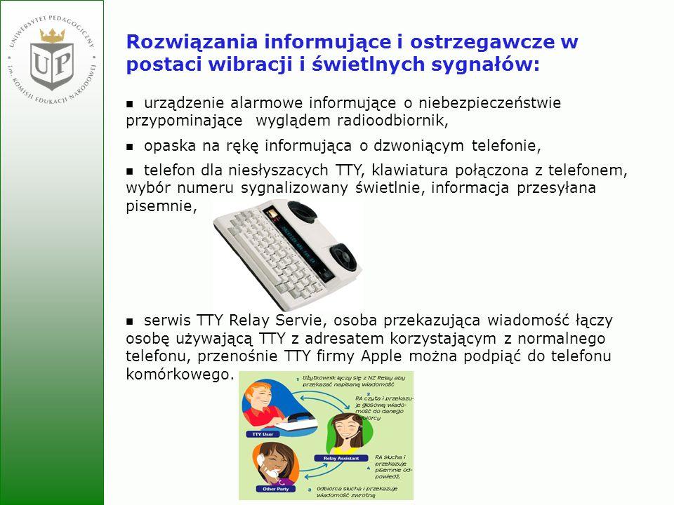 Jolanta Zielińska Rozwiązania informujące i ostrzegawcze w postaci wibracji i świetlnych sygnałów: urządzenie alarmowe informujące o niebezpieczeństwi