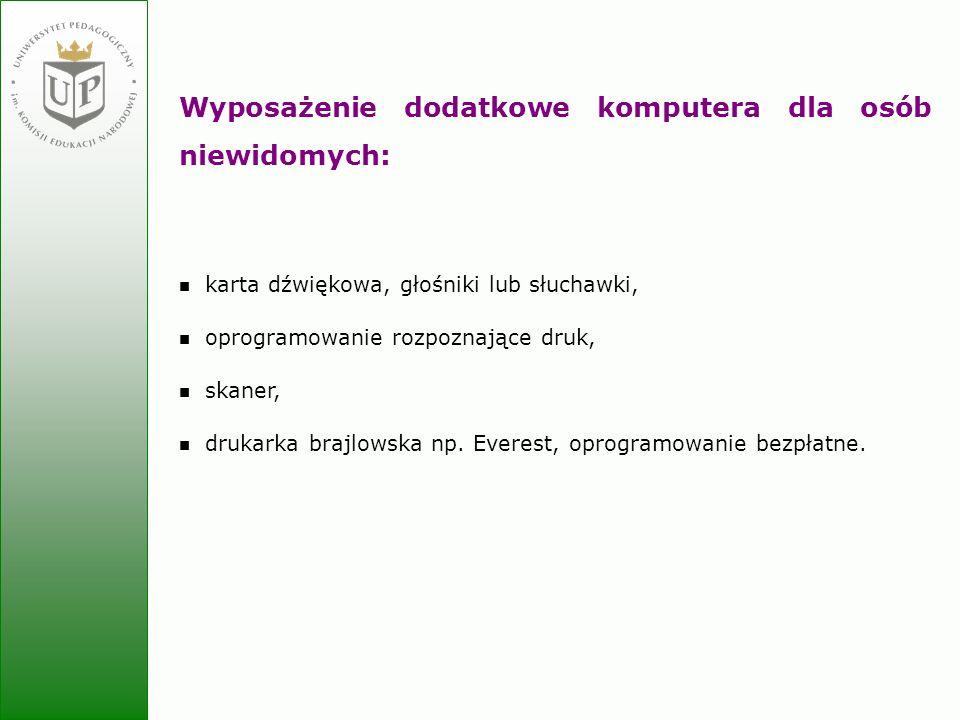 Jolanta Zielińska Wyposażenie dodatkowe komputera dla osób niewidomych: karta dźwiękowa, głośniki lub słuchawki, oprogramowanie rozpoznające druk, ska