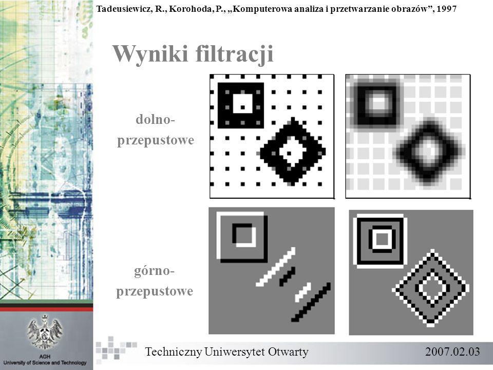 Techniczny Uniwersytet Otwarty 2007.02.03 Wyniki filtracji Tadeusiewicz, R., Korohoda, P., Komputerowa analiza i przetwarzanie obrazów, 1997 dolno- pr