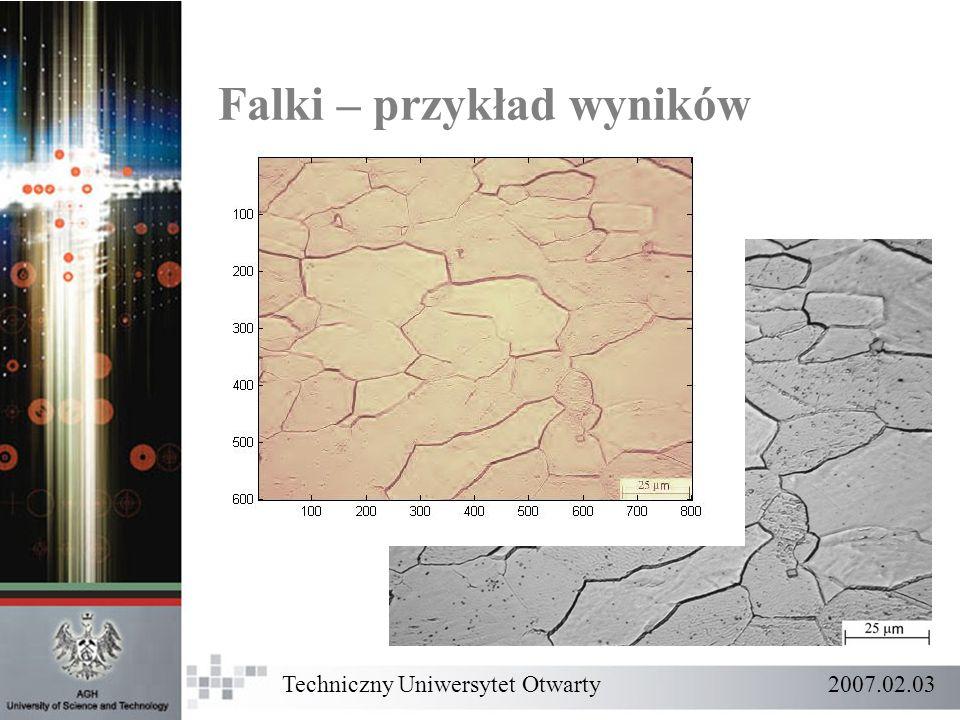 Techniczny Uniwersytet Otwarty 2007.02.03 Falki – przykład wyników