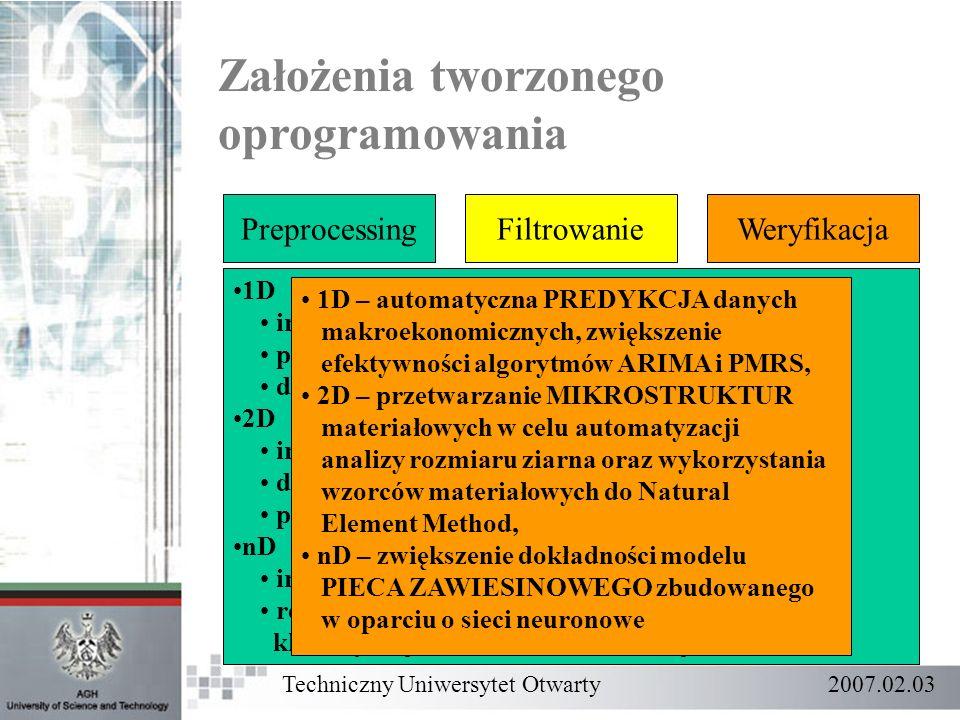 Założenia tworzonego oprogramowania PreprocessingFiltrowanieWeryfikacja 1D import danych, przygotowanie struktur, detekcja uskoków, 2D import danych z