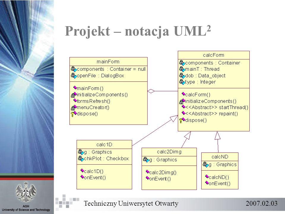 Projekt – notacja UML 2 Techniczny Uniwersytet Otwarty 2007.02.03