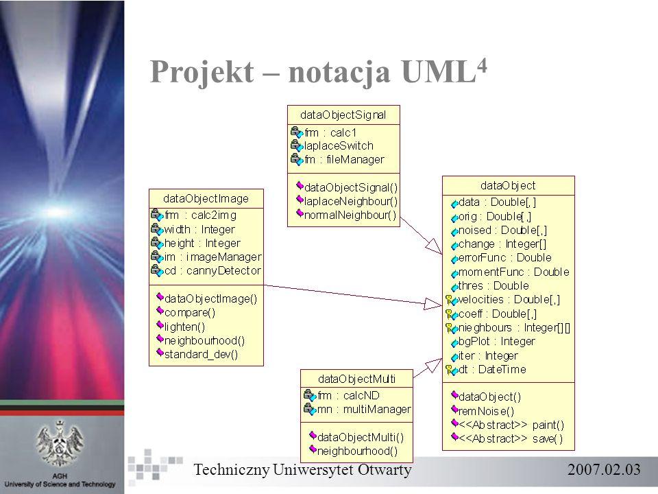 Projekt – notacja UML 4 Techniczny Uniwersytet Otwarty 2007.02.03