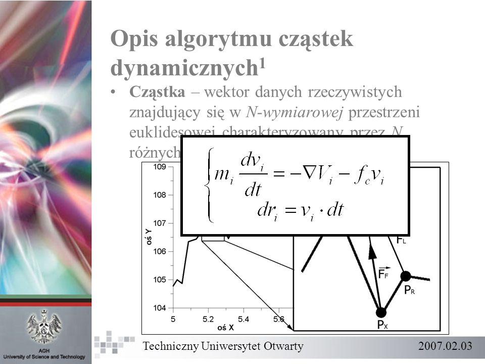 Opis algorytmu cząstek dynamicznych 1 Cząstka – wektor danych rzeczywistych znajdujący się w N-wymiarowej przestrzeni euklidesowej charakteryzowany pr