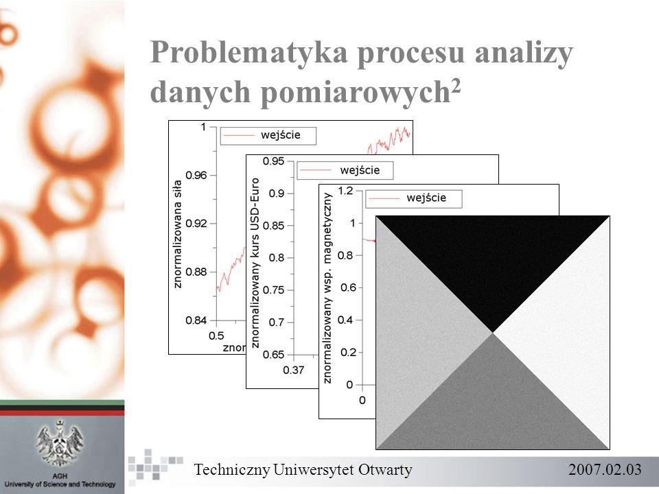 Problematyka procesu analizy danych pomiarowych 2 Techniczny Uniwersytet Otwarty 2007.02.03