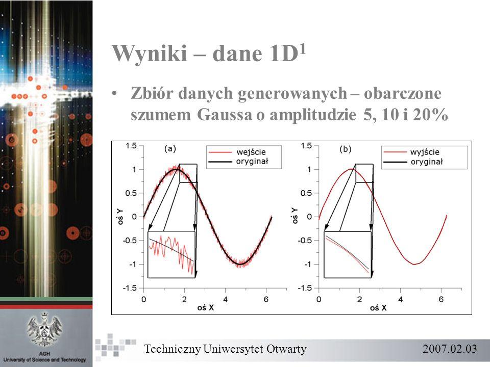 Wyniki – dane 1D 1 Zbiór danych generowanych – obarczone szumem Gaussa o amplitudzie 5, 10 i 20% Techniczny Uniwersytet Otwarty 2007.02.03